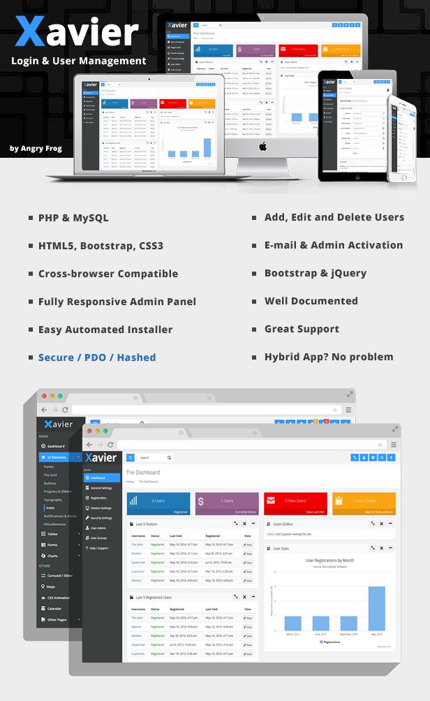 Xavier - PHP Login Script & User Management Admin Panel - 1